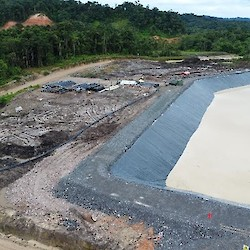 Process plant area water management pond completed