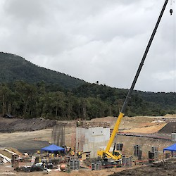 SAG and ball mill founation advancing with concrete pie