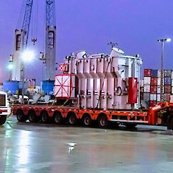 Transformers being loaded for transport to site at port in Guayaquil
