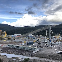 Primary crusher and ore conveyor under construction